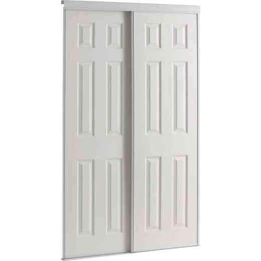 Colonial Elegance 60 In. W x 80-1/2 In. H Six-Panel White Woodgrain Bypass Door