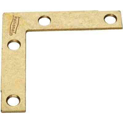 National Catalog 117 2-1/2 In. x 3/8 In. Brass Flat Corner Iron (4-Count)