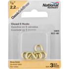 National 7/8 In. Brass Light Closed S Hook (3 Ct.) Image 2