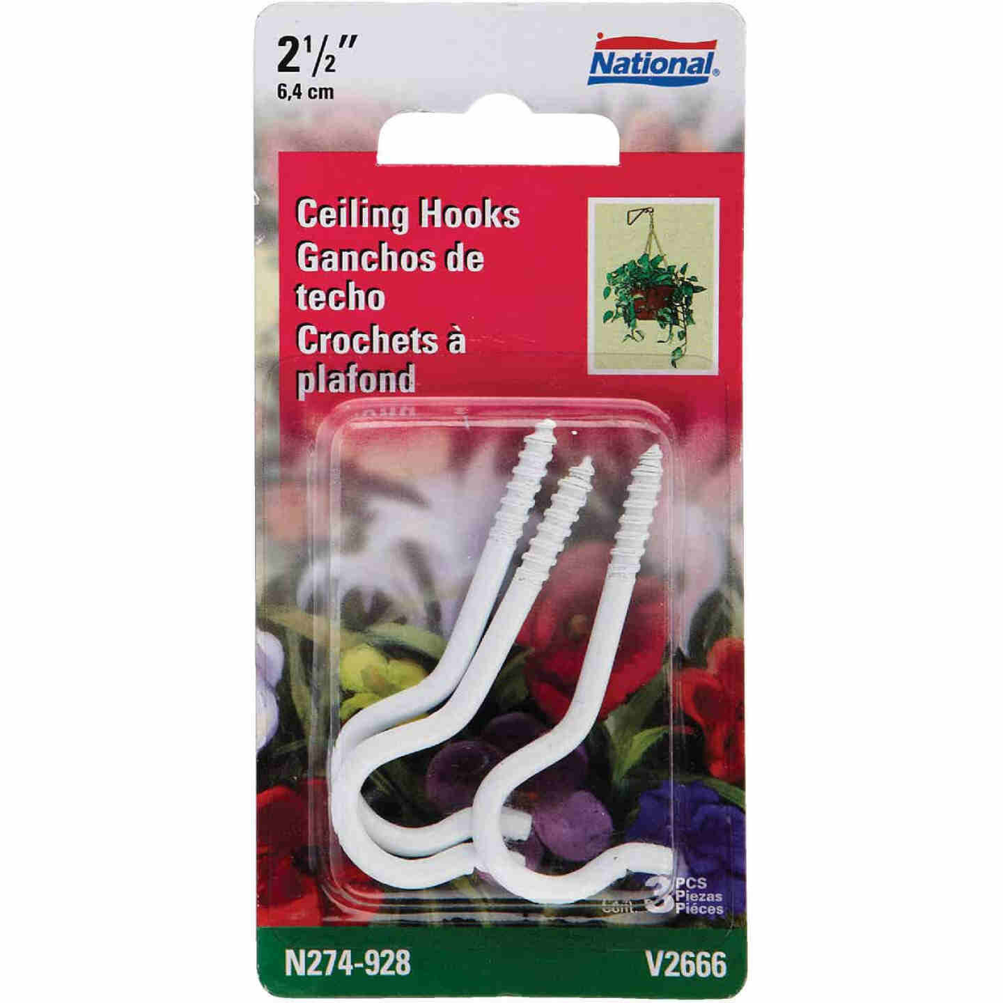 National 2-1/2 In. White Ceiling Hook (3 Pack) Image 1